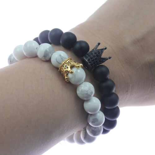 Details About Fashion His King And Her Queen Crown Bracelets Hand Weaved Gift