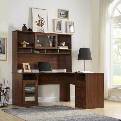 Home Office L-shaped Computer Desk Wreversible Hutch Drawers File Cabinet Shelf