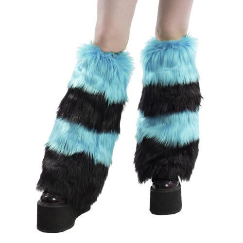 PAWSTAR Furry Leg Warmers - Fluffies Stripe Teal Blue Black Covers [BKTU]2550