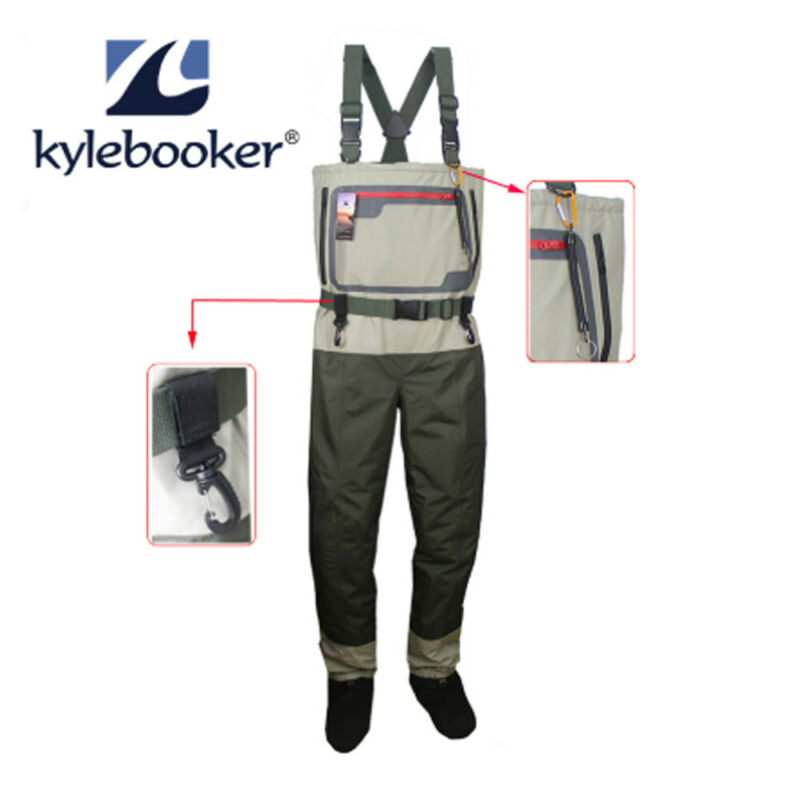Fly Fishing Chest Waders Breathable Stocking foot Wader Light Weight Kit