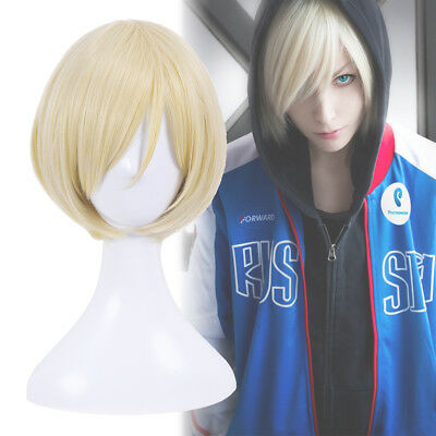 Kurapika Cosplay Wig Yuri Plisetsky Hair Short Blonde Staight Mens Anime - Mens Short Blonde Wig