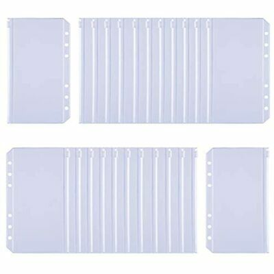 24pcs Binder Pockets A6 Size Holes Zipper Pouch Folders Clear Waterproof Pvc For