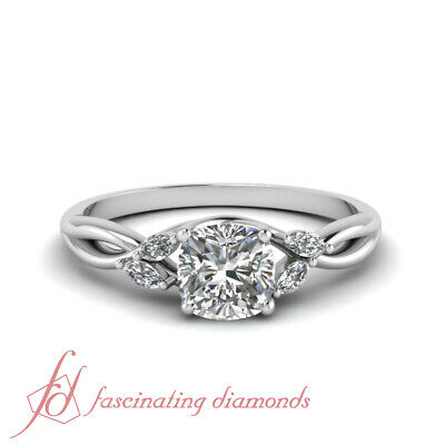 3/4 Ct Cushion Cut Diamond Split Shank Engagement Rings For Women GIA Certified