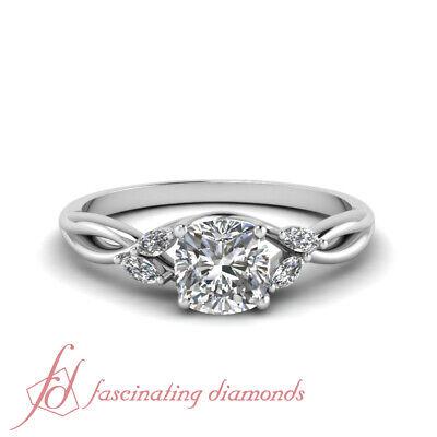 3/4 Ct Cushion Cut Diamond Split Shank Engagement Rings For