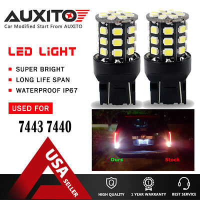 AUXITO 2 Rear Turn Signal Light White 7443 LED Bulb for 03~17 Honda Accord Civic