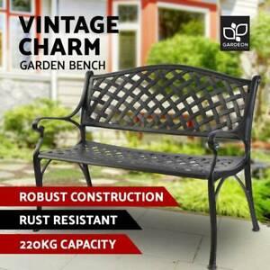 Enjoyable Garden Bench Patio Porch Park Lounge Cast Aluminium Outdoor Caraccident5 Cool Chair Designs And Ideas Caraccident5Info