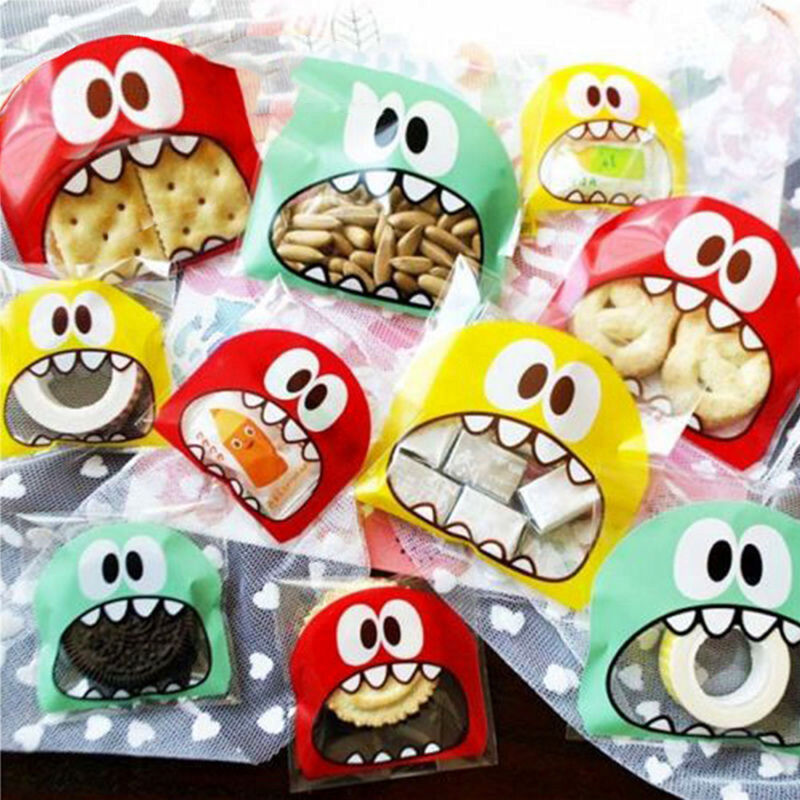 Biscuit Sweet Bag Self-Adhesive Cello Gift Foodie Monster Seal Treat Bag Fun