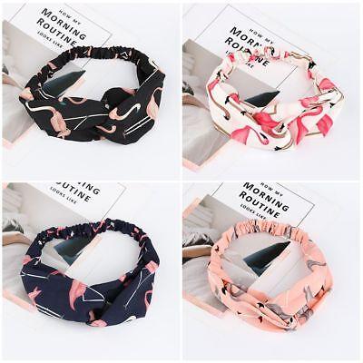 Gift Women Headwrap Chiffon Headwear Wide Bands Turban Flamingo - Chiffon Headwrap