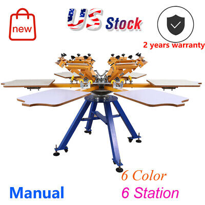 Usa Press T-shirt Printer Carousel 6 Color 6 Station Screen Printing Machine