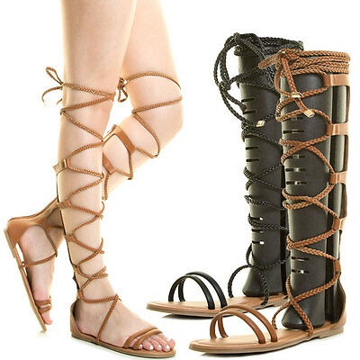 New Open Toe Braid Strap Tie Wrap Lace Up Gladiator Sandal Mid Calf Knee High US