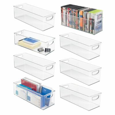 Mdesign Stackable Plastic Home Office Storage Bin With Handles 8 Pack - Clear