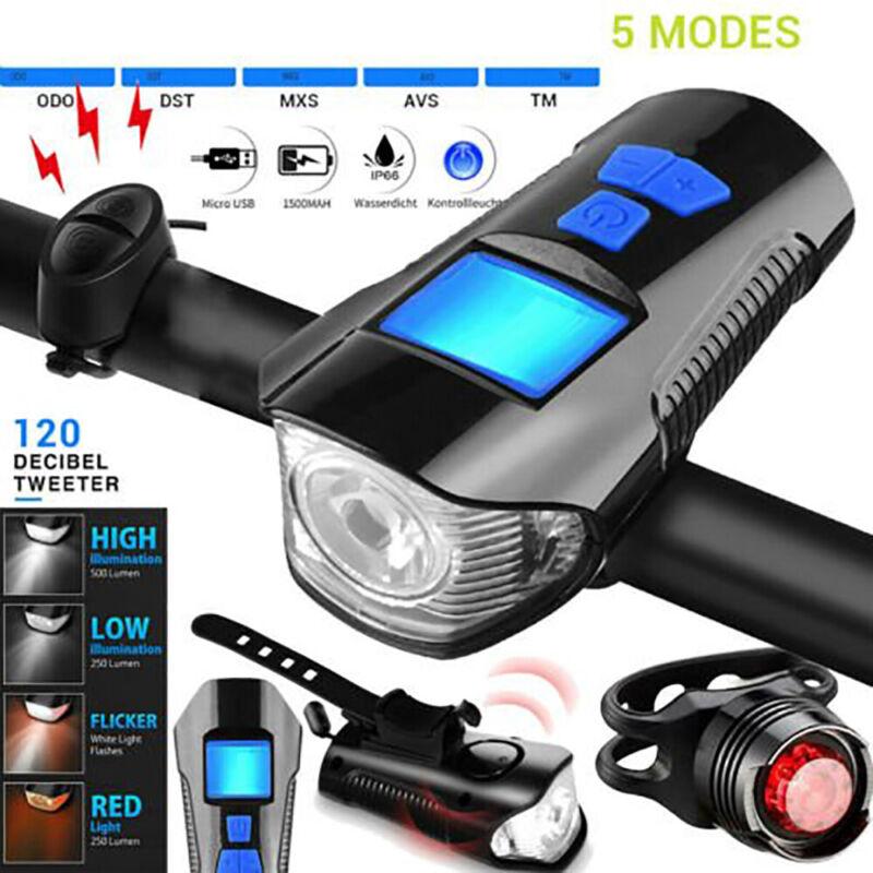 USB Rechargeable LED Bike Front Rear Tail Light Headlight Horn Bell Odometer New