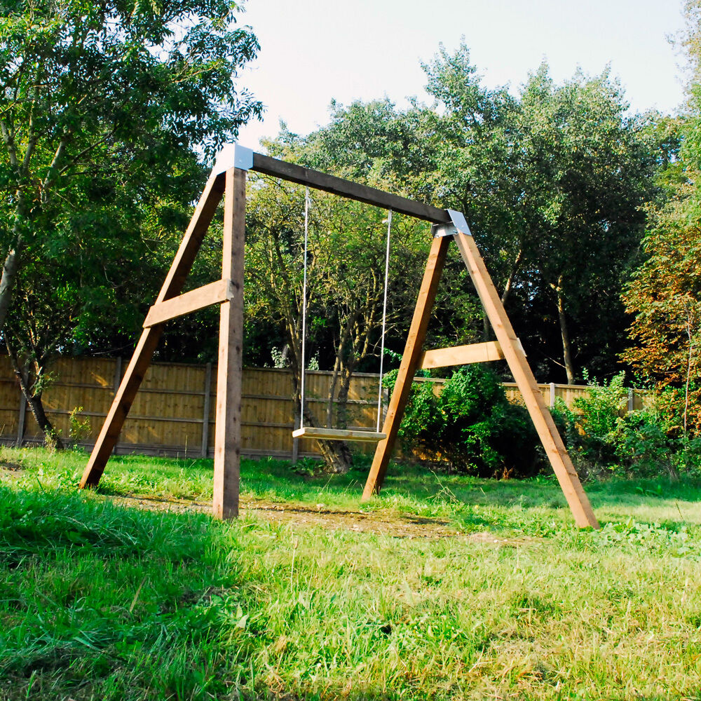 Diy garden swing set brackets wooden frame outdoor kids for Building a wooden swing