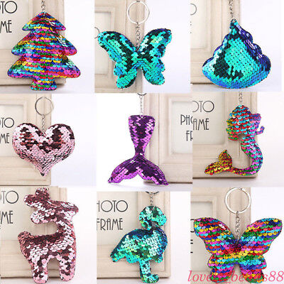 Glitter Sequins Mermaid Star Heart Butterfly Keychain Car Bag Hanging Key Ring (Mermaid Keychain)
