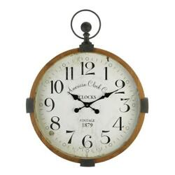 large 30 rustic vintage style pocket watch Industrial wood metal wall clock