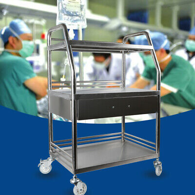 Cart Trolley Clinic Salon Equipment Stainless Steel 3 Layers1 Drawer With Wheel