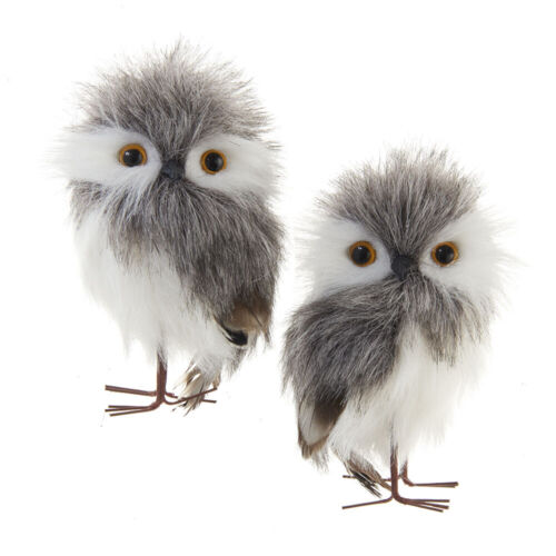 Gray and White Furry Owls Ornaments