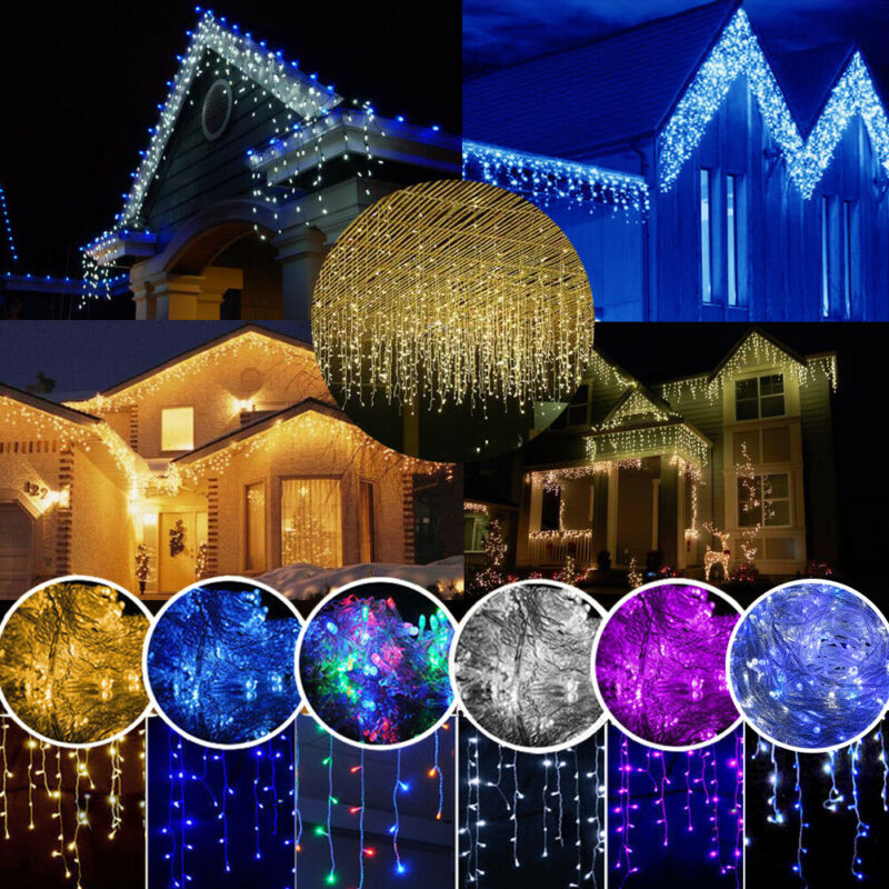 LED Icicle Curtain String Lights Lamps Christmas Wedding Par