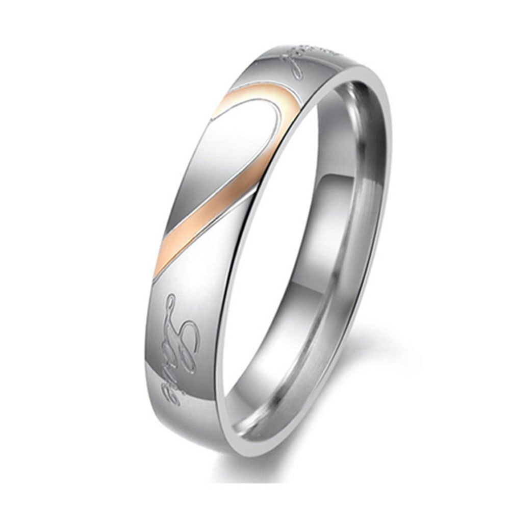 Couple Love Heart Stainless Steel Comfort Fit Wedding Bands Promise Ring HS8