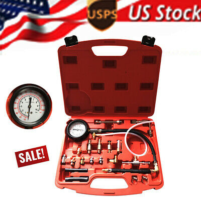 0-140PSI Fuel Injection Pump Pressure Tester Gauge Tool Kits For Cars Trucks US