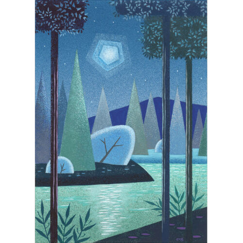 PETER BIRCHWOOD RETRO MOONLIGHT LAKE MID CENTURY MODERN ART VINTAGE 1950s PRINT