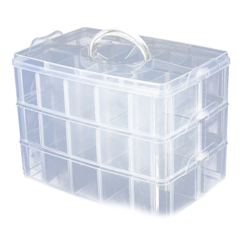 Foraineam 3-Tier Stackable Storage Box Organizer with 30 Adjustable Compartments Plastic Craft Organizer Case Tool Storage Container Bins for Jewelry Beads Arts and Crafts Beauty Supplies