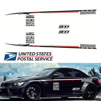 Pair Red & White Car Side Body Waterproof Vinyl Decal Car Decoration Sticker -US