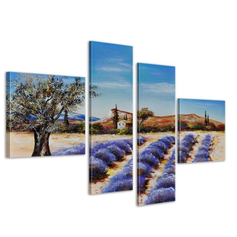 Lavendelfeld+M2+-+Leinwandbild+4+teilig+100x70cm+Handgemalt