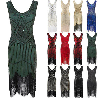 Vintage 1920s Flapper Dress Great Gatsby Sequins Fringed Cocktail Party Dress UK