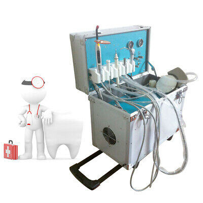 Portable Dental Delivery Unit With Air Compressor Handpiece Kit 4 Hole Suction