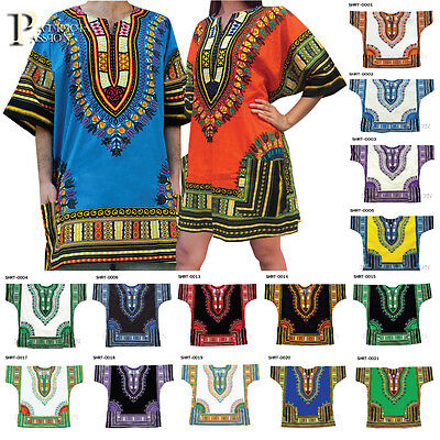 New Unisex/Men/Women African Dashiki Shirt/Dress Tribal Plus Size M,L,XL,XXL UK