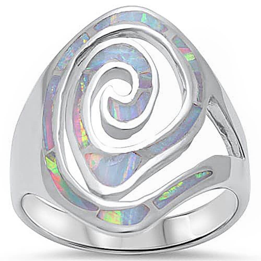 Swirl Design White Opal Fashion .925 Sterling Silver Ring Si