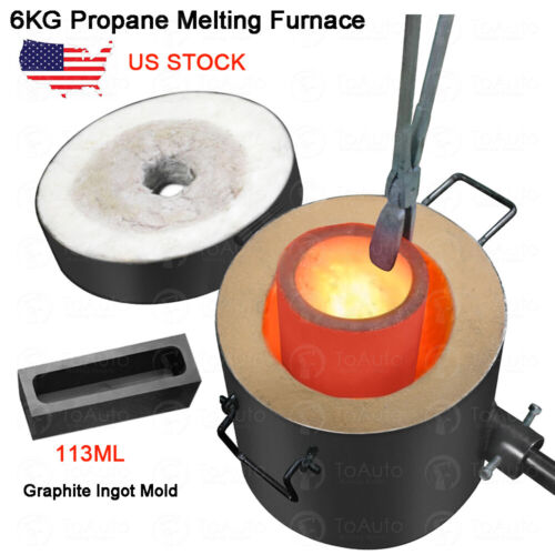 6KG Gas Melting Furnace Propane Forge Copper Gold Silver Jew