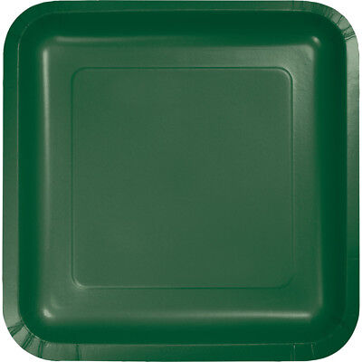 (54 Pack) Hunter Green Square 7-inch Paper Plates Wedding Birthday Shower Party
