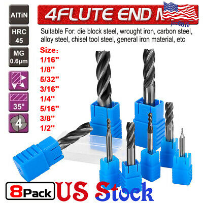 8pcs Solid End Mill 4 Flute TiAlN Coated Micrograin Carbide Slot Drill 1/16-1/2 Coated Solid Carbide End Mill
