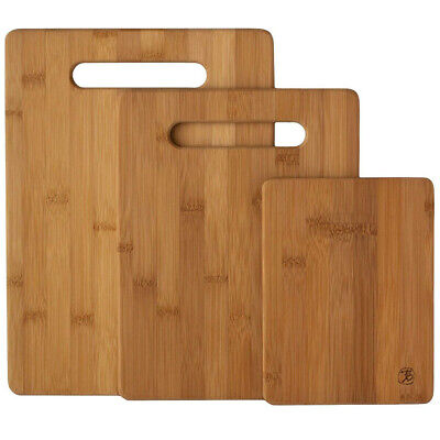 3 Piece Wood Cutting Board - 3 Piece Bamboo Cutting Board Set Wood Chopping Boards Meat & Veggie Prep Kitchen