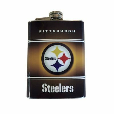 (Pittsburgh Steelers Hip Flask Stainless Steel 8oz Football Liquor Whiskey Vodka)