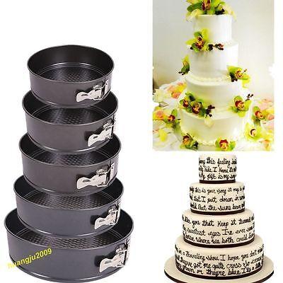Set Of 5 Non Stick Springform Cake Pan Baking Bake Round Tray Tins Wedding Party