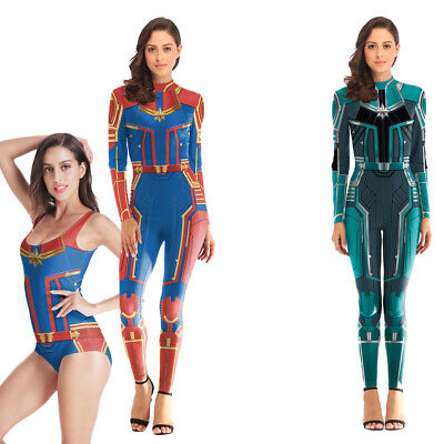 Female Marvel Cosplay Costumes (Captain Marvel Lycra Jumpsuit Carol Danver Cosplay Costume One-piece)