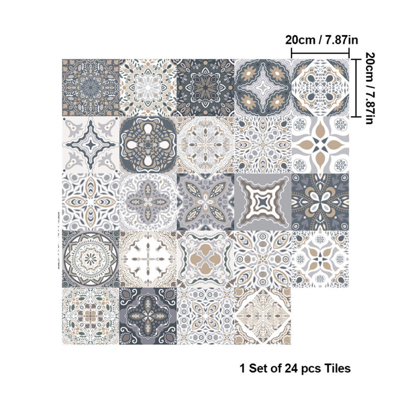 Home Decoration - 24Pieces Moroccan Style Tile Effect Wall Stickers Kitchen Bathroom Self-Adhesive
