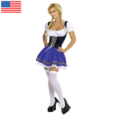 German Wench Costume (Oktoberfest Beer Wench Costume German Bavarian Heidi Fancy Dress)