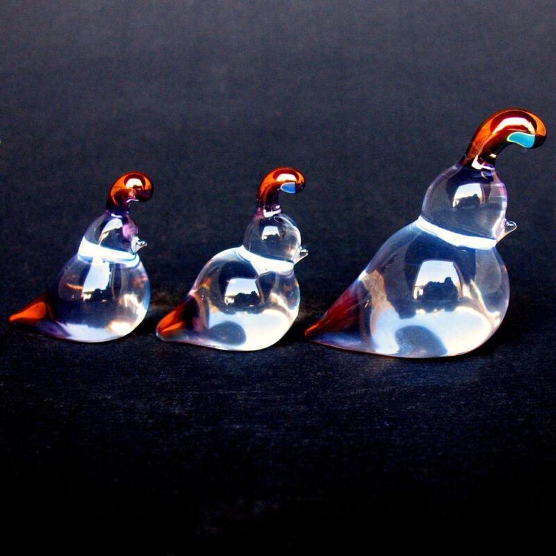 Quail Family Figurine Blown Glass Crystal Sculpture