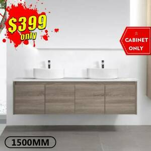 Bathroom Vanity 1500mm Wall Hung Cabinet Finger Pull Amber *SPECIAL*