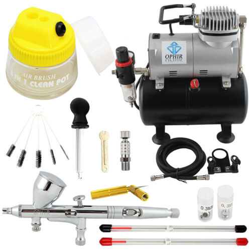 OPHIR PRO Airbrush Kit with Air Compressor Air Brush Gun Pai