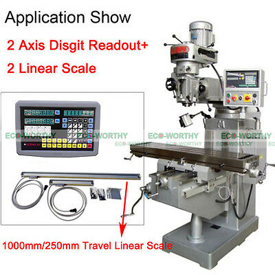2 Axis Digital Readout & TTL Linear Scale 9x42DRO Kit for Mill Bridgeport EMD