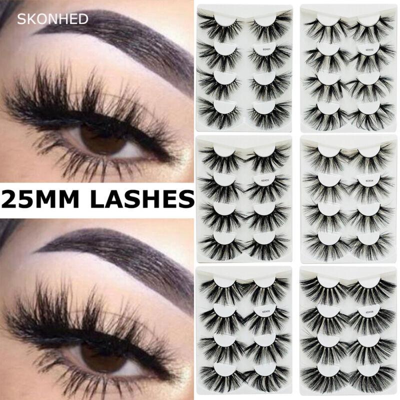 4Pairs/pack False Eyelashes Eyelash Extension 25MM Lashes 6D