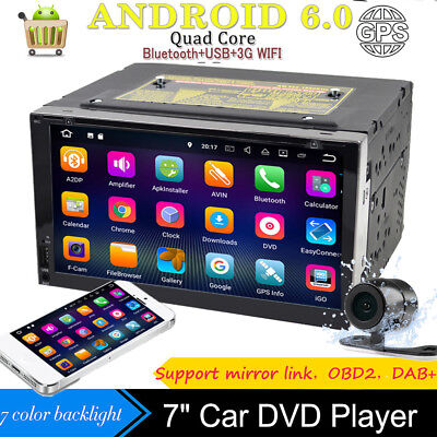 "Android 6.0 Car DVD Player 7"" GPS Navigation In-dash Bluetooth WIFI Radio+Camera"