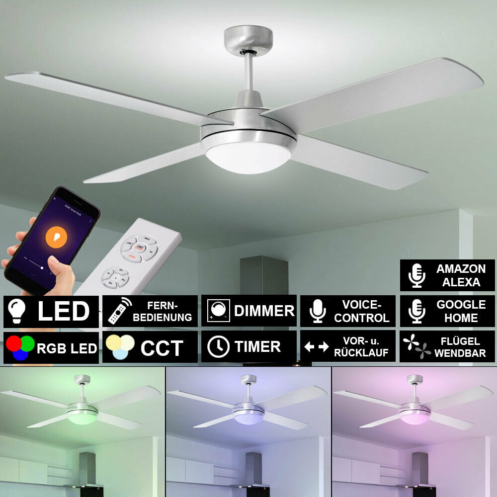 Smart RGB LED Decken Ventilator mit Fernbedienung Alexa Google App Lampe DIMMBAR