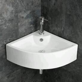 Large wall mounted corner sink/basin