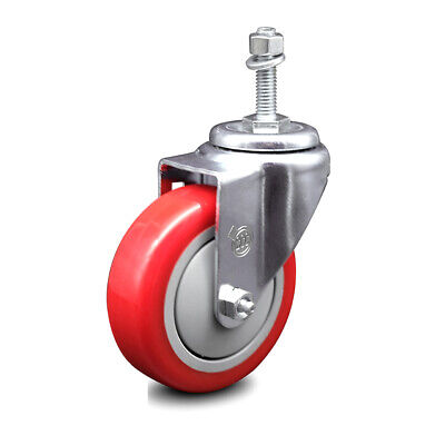 Poly Swvl Threaded Stem Caster W4 Red Wheel And 38 Stem 300 Lbs.caster